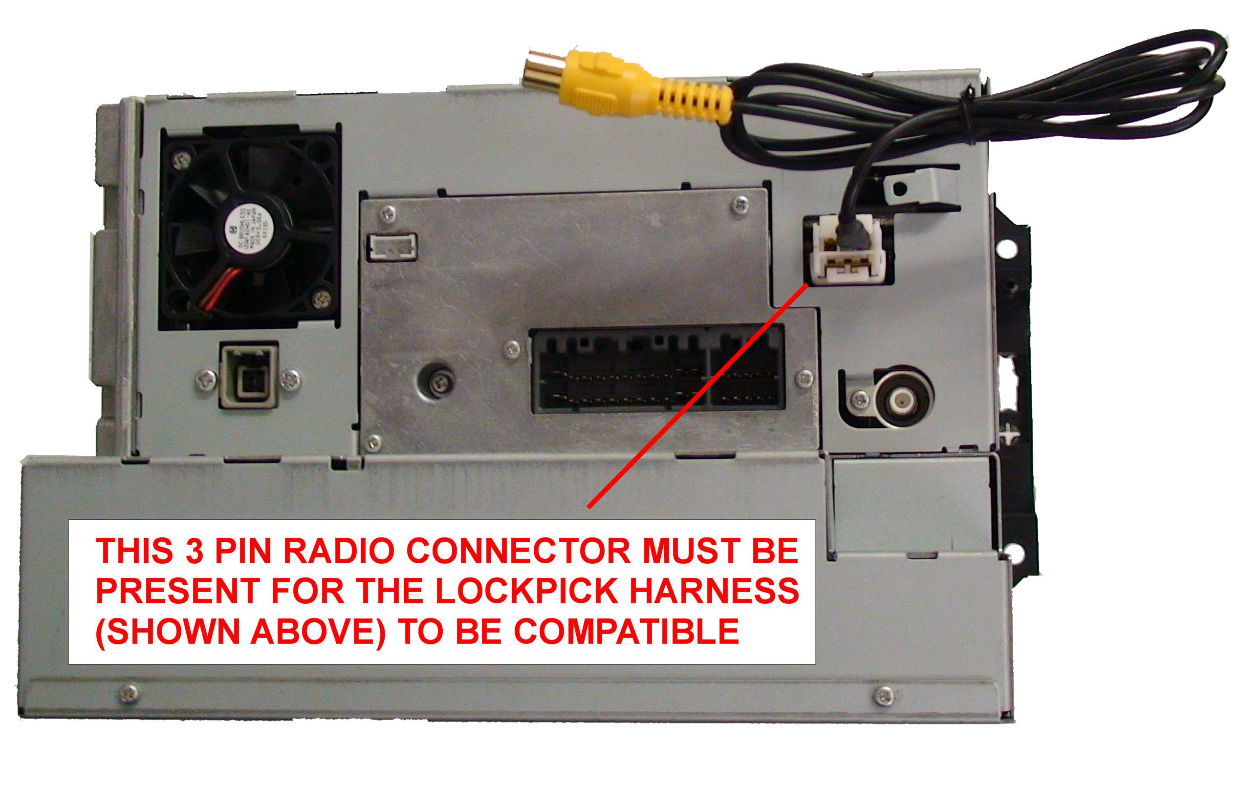 rec nav lockpicknote navigation radio must be reverse camera capable (white 3 pin connector on back of radio) click for photo example